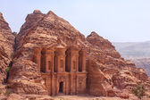 Massive facade of the largest monument in Petra, Monastery (ad D — Stock Photo