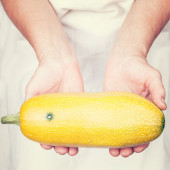 Elderly hands holding golden zucchini  with retro style — Stock Photo