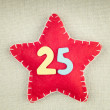 Concept for christmas, red star with wooden numbers 25 on vintag — Stock Photo #58499741