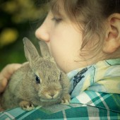 A teenage girl holding a bunny rabbit on her shoulder — Stock Photo