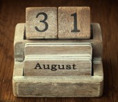 A very old wooden vintage calendar showing the date 31st August  — Stock Photo