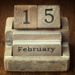 A very old wooden vintage calendar showing the date 15th Februar — Stock Photo #65975203