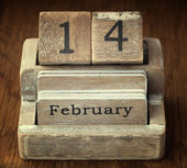 A very old wooden vintage calendar showing the date 14th Februar — Stock Photo