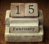 A very old wooden vintage calendar showing the date 15th Februar — Stock Photo