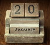 A very old wooden vintage calendar showing the date 20th January — Stock Photo