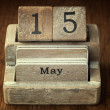 A very old wooden vintage calendar showing the date 15th May on  — Stock Photo #66001607