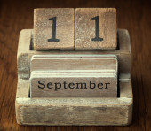 A very old wooden vintage calendar showing the date 11th Septemb — Foto de Stock