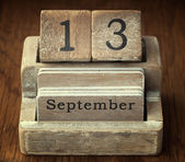 A very old wooden vintage calendar showing the date 13th Septemb — Foto de Stock