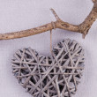 A handmade heart made from twigs hanging on the branch — Stock Photo #68406277
