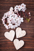 Three wooden hearts placed nicely with cherry blossom flowers on — Stockfoto