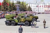 Russian military transport at the parade on annual Victory Day,  — Stock Photo