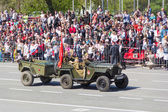 Russian military transport at the parade on annual Victory Day — Stock Photo