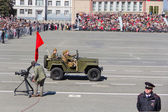 Russian military transport at the parade on annual Victory Day — Fotografia Stock