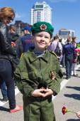 Russian boy at the parade on annual Victory Day — Stock Photo