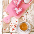 Red heart cookies and espresso — Stock Photo #53197507