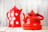 Red and white Enamel Tea Coffee Pots — Stok fotoğraf