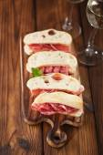 Cured Meat jamon sausage and ciabatta bread — Stock Photo