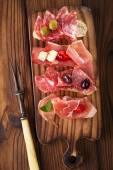 Antipasti Platter of Cured Meat,   jamon, olives, sausage, salam — Stock Photo