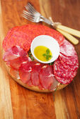 Meat platter of Cured Meat and salami — Stock Photo