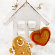 Gingerbread man and heart shaped cookies — Stock Photo #55090533