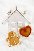 Gingerbread man and heart shaped cookies — Stock Photo