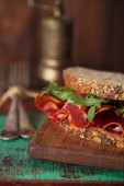 Cured meat sandwich with bread — Stock Photo