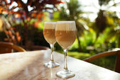 Spanish coffee latte in tall glasses — Stock Photo