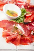 Antipasti Platter of Cured Meat and olive oil — Stock Photo