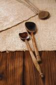 Real vintage wooden spoons — Stock Photo