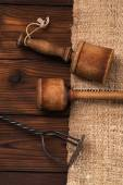 Vintage wooden and iron mashers — Stock Photo