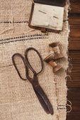 Really antique iron scissors with spools — Stock Photo