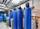 Modern water treatment system for industrial boiler — Stock Photo