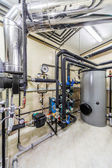 Technological boiler unit with tanks, pipelines and chimney — Stock Photo