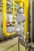 Boiler gas pipelines with valves, gate valves and displays — ストック写真