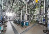 Industrial boiler interior with lots of pipes, pumps and valves — Stock Photo