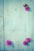 Purple thistle flowers on old wooden board, vintage colors — Stock Photo