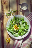 Cucumber salad with leccuce and boiled eggs, country style photo — Stock Photo