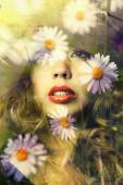 Double exposure of young woman portrait and white flowers — Stockfoto