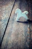Childs toy wooden horse, retro styled toned photo — Stock Photo