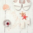 White and coral coloured accessories - sandals, nail polish, bel — Stock Photo #57895029