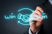 Win-win partnership strategy concept. — Stock Photo