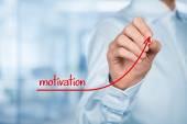 Businessman writing Motivation to growth — Stock Photo