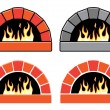 Постер, плакат: Vector clipart set of ovens with burning fire