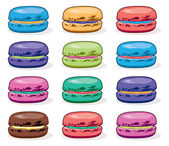 Vector clipart collection of colorful macarons  — Stock Vector