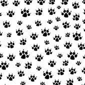 Vector dog foot prints background pattern — Stock Vector
