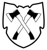 Vektor gekreuzte axt in schild-symbol — Stockvektor