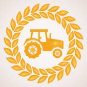 Vector design of wheat border with symbol of tractor  — Stock Vector