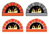 Vector clipart set of ovens with burning fire  — Stock Vector