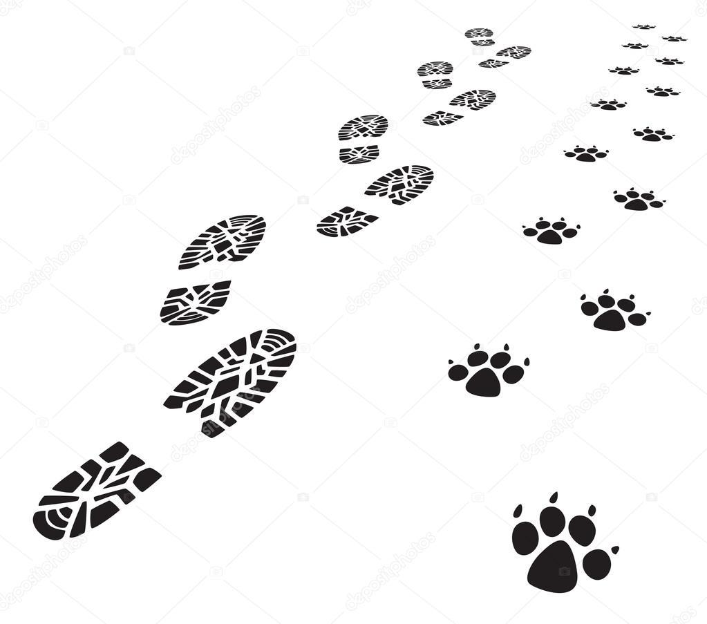 Vettore impronte di uomo e cane — vettoriali stock