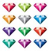Vector collection of diamonds — Stock Vector